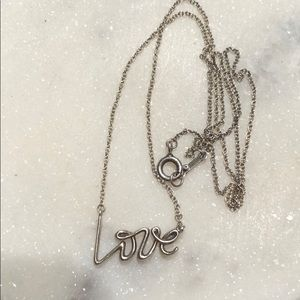 Authentic Tiffany and Co cursive LOVE necklace